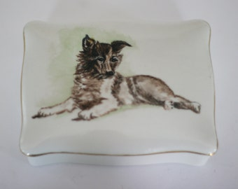 vintage porcelain box with hand painted dog 1947