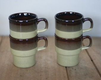 vintage mid century raku glaze coffee cups set of four made in japan