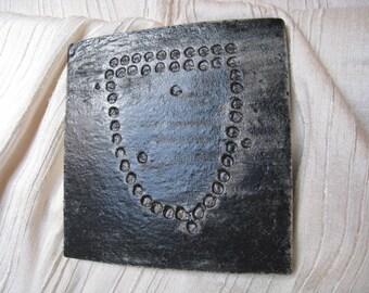 Ceramic Rock Art Tile - Mask Petroglyph - Ceramic Tile - Ceramic Coaster - Rock Art Coaster