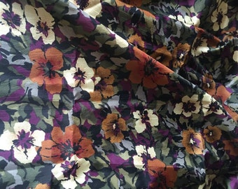 Vintage Silky Floral Fabric Yardage