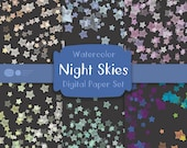 Handpainted Watercolor Night Sky Confetti Papers: Night Skies Confetti Paper, Digital Files, Background Papers, Digital Scrapbooking,