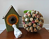 Wine Cork Kissing Ball - Pink Rosebuds and Baby's Breath - Wedding, Table Display, Spring, Summer, Home Decor