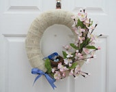 Bluebird and Dogwood Burlap Wrapped Oval Wreath - Spring, Easter, Home Decor