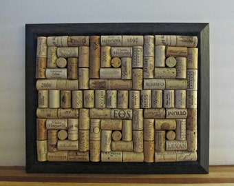 Wine Cork Board with Square and Dot Pattern - Black Gray Frame - Kitchen, Office, Storage, Home Organization