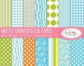 Mostly Sunny digital papers, digital scrapbook paper, patterned paper, summer digital papers, P36