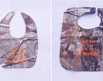 Cant Wait To Hunt With My Big Brother - Small OR Large Baby Bib - Orange lettering - FREE Shipping to U.S.