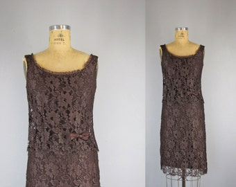 Vintage 1960s Dress l 60s Chocolate Brown Lace Party Dress