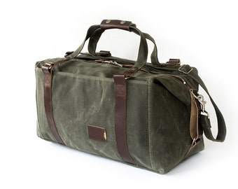 NO. 495 Waxed Canvas Weekender Bag in Military Green Expandable Personalized Duffle Bag Gym Carry-On Overnight Bag
