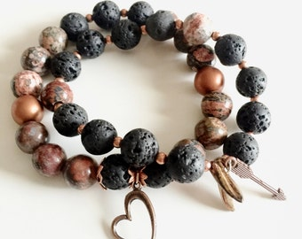 Black lava, Copper and Brown multi colored beaded stackable bracelets with Heart and Arrow Charms