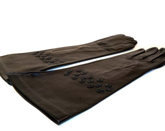 Vintage 1950s Black Kid Leather Gloves with Leather Flower Details Size 6-1/2 Never Worn