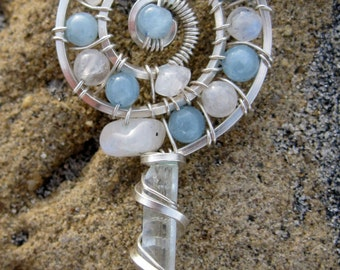 Sacred Spiral//Sweet Surrender///Aquamarine, Moonstone, and Sterling Silver Wire WRap Pendent, Handmade, One of a Kind, Art