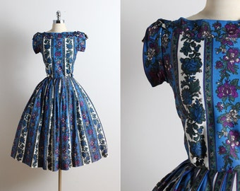 Vintage 50s Dress | Manford 1950s dress | floral dress xs/s | 5731