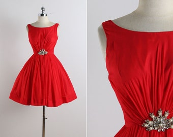 Vintage 50s dress | vintage 1950s dress | jeweled party dress xs | 5776
