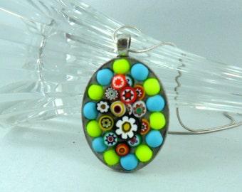 Mosaic jewelry - Mosaic pendant - Mosaic gift - Jewelry lover - Jewelry gift - Mosaic lover - Mosaic art - Mosaic - Neon lover gift - glass