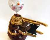 Ooak Spun Cotton Snow Man and Gingerbread Baby Art Doll Large with wooden sled Christmas decor