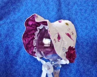Infant Baby Bonnet with Birds, Reversible White to Fuchsia