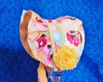 Yellow Baby Bonnet Reversible with Flowers Ruffled Brim