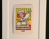 Vtg Baker 5 x 7 Matted Childrens Playing Card