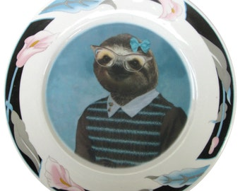 "Sylvia Sloth School Portrait Plate- Altered Vintage Plate, 10.5"""