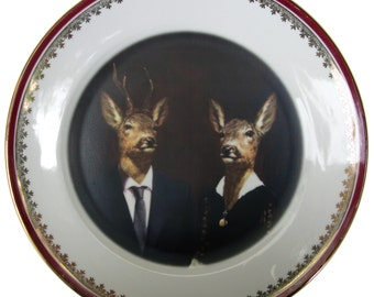 """Uncle Buck and Aunt Doe - Altered Vintage Plates 10"""""""