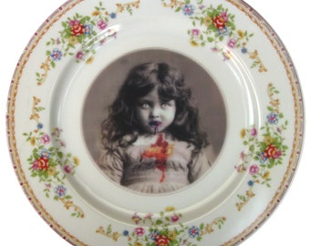 Lucy the Zombie Girl Portrait  - Altered Vintage Plate 10""