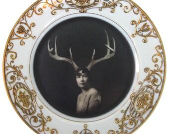 "Deer Liza - Altered Vintage Plate 6.5"""