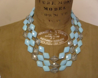 Vintage 1960's  Triple Strand Beaded Necklace