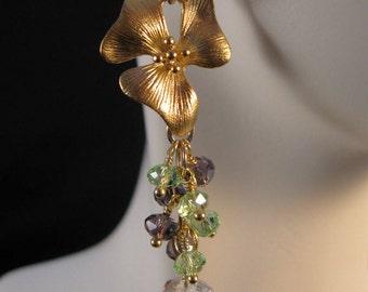 Gemstone cluster Earrings,gold earrings, drop earrings, dangle earrings, cluster earrings, gemstone earrings, drop, dangle, cluster