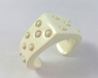 Creme Beige Off White Hobnail Plastic Cuff Bracelet Unsigned