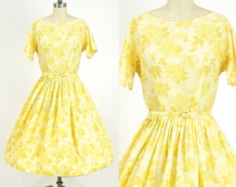 50s Full Skirt Dress, 1950s Floral Dress, L'Aiglon Cotton Day Dress 26 Waist