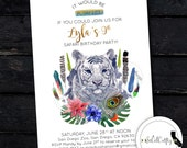 White Tiger Birthday Party Invitation, Zoo Invite, Safari, Wild Animal, Watercolor, Feather, Printed or Printable Invitations, Free Shipping