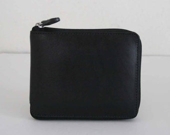 Soft Genuine Leather Bifold Men wallet Zipper Around with coin pocket