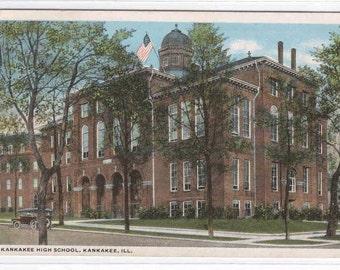 High School Kankakee Illinois 1919 postcard