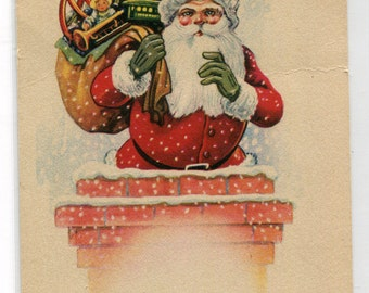 Santa Claus In Chimney Bag Toys Merry Christmas Holiday 1910c postcard