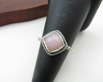 Sterling Silver Pink Opal Ring Size 6.5 Handmade Metalwork Jewelry Blush Pink Peruvian Opal Ring Ready to Ship Gifts Under 100