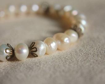 Freshwater Pearl bracelet Natural Iridescent Antique Brass Bridal Wedding