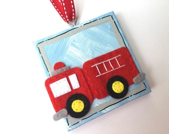 Hand Painted and personalized 3x3 canvas firetruck ornament
