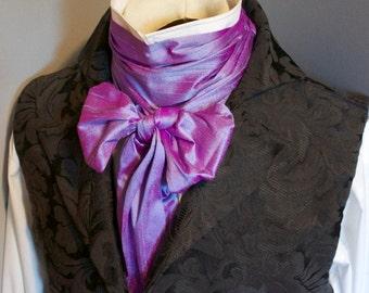 Lavender Blue Dupioni Silk - Long Wide REGENCY Brummel Victorian Ascot Tie Cravat