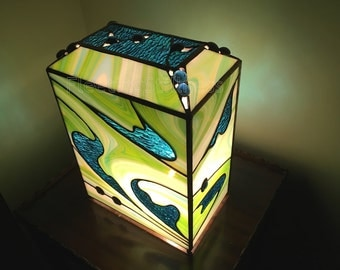Ocean Treasure Stained Glass Lamp Green Blue White Turquoise Handmade OOAK