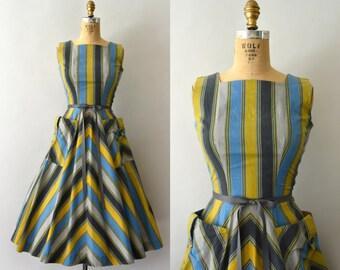 RESERVED LISTING -- 1950s Vintage Dress - 50s Stripe Cotton Sundress