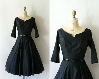 Vintage 1950s Dress - 50s Black Satin Party Dress