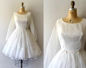 Vintage 1950s Dress - 50s White Chiffon Formal Dress - Wedding Dress