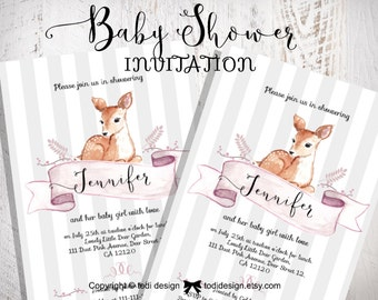 Baby Girl Shower Party Invitation - Little Deer- Printable digital file