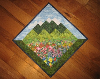 Flowers and Mountains Art Quilt Diagonal Quilted Fabric Wallhanging Wall Landscape Quilt Art Cabin Lodge Decor Wall Art Quilt Handmade