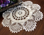 Crochet Doily in White, Hand Crocheted, Large Lacy Crocheted Doilies, Vintage Table Linens 13384