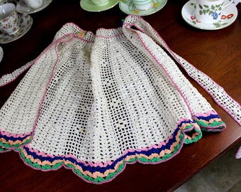 Crocheted Half Apron or Pinny, Crochet Tie Waist 12266