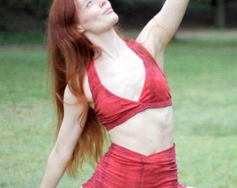 Larkspur - Agnes - Organic Cotton Yoga Bra and Shorts Set - Scarlet Tiedye