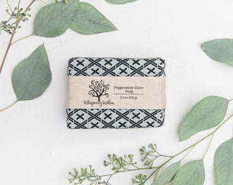 Linen Wrapped Natural Peppermint Clove Soap - Made with Organic Oils - Vegan - 5.5 oz
