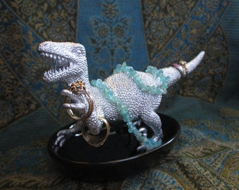 Silver Dinosaur Ring & Jewelry Holder Velociraptor