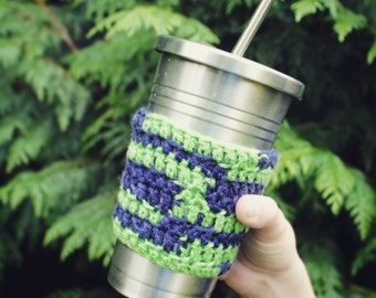 Seattle Seahawk travel mug cup cozy coffee crochet cream Navy Green